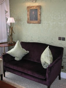 Colour contrasting against beautiful silk walls