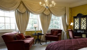 Regency style swags and tails with Gainsborough SIlk Walls