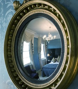 Blue silk wall covering from Gainsborough