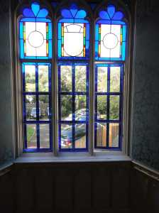 Vivid blue stained glass