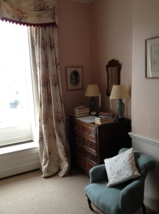 Farrow & Ball Pink ground creates a classic but feminine feel with the mahogany furniture preventing it from feeling sickly