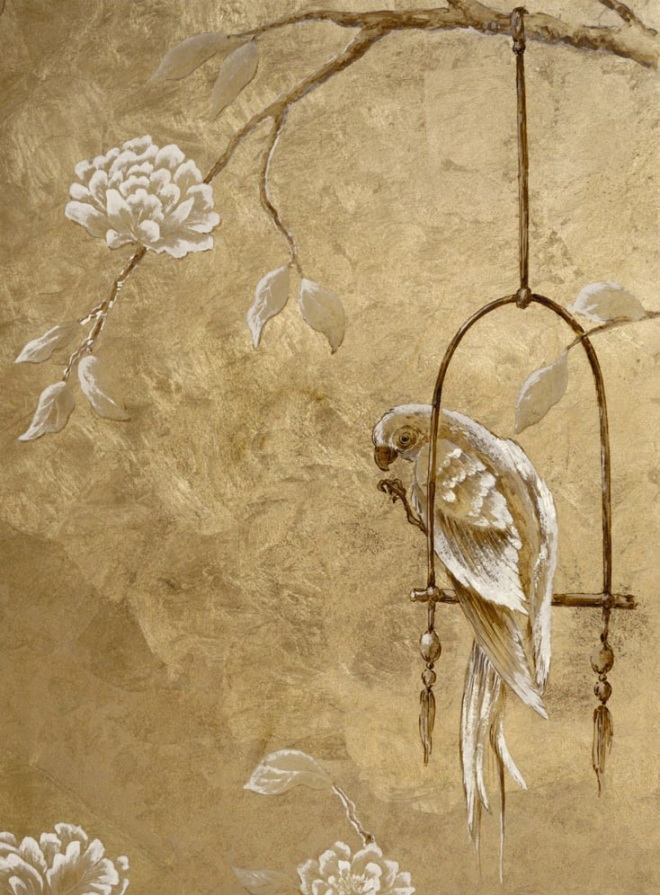 Verre Eglomise metallic chinoiserie by Tatiana Tafur