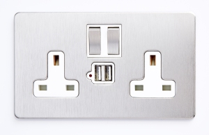 A double USB port for charging your phones and tablets comes in all of Wandsworth Group's ranges.